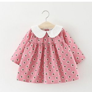 Lovely Girls Strawberry Print Dress With Bow